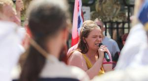 Councillor Jolene Bunting speaks at the 'UK Freedom Rally' held at Belfast City Hall in support of Tommy Robinson. (Photo by Colm O'Reilly,Sunday Life)
