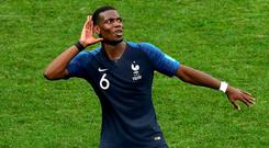 France's Paul Pogba celebrates after winning the FIFA World Cup.