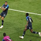 Kylian Mbappe (left) celebrated after becoming the first teenager to score in a World Cup final since Pele in 1958. (Aaron Chown/PA Wire)