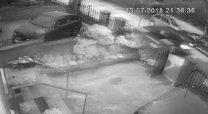 An image from CCTV footage of an attack on the home of former Sinn Fein president Gerry Adams (An Phoblacht/PA)