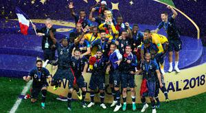 France celebrate with the trophy after winning the FIFA World Cup Final at the Luzhniki Stadium, Moscow. Aaron Chown/PA Wire.