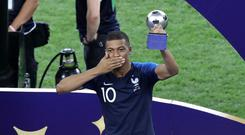 Kylian Mbappe was named FIFA's young player of the tournament (Aaron Chown/PA)