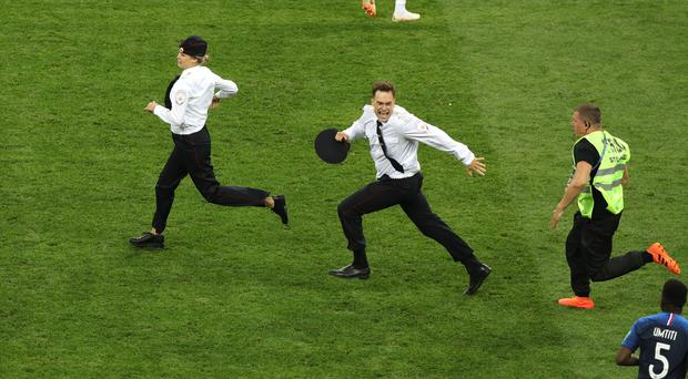 Pop band Pussy Riot have claimed responsibility for the pitch invasion during the World Cup final in Moscow (Aaron Chown/PA)