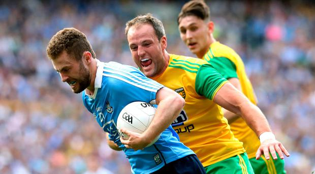 Close quarters: Donegal's Michael Murphy stays tight on Jack McCaffrey