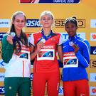 Podium power: Sommer Lecky (left), Karyna Taranda of Belarus and Maria Fernanda Murillo of Colombia proudly display their medals.