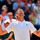 Moment of victory: delighted Novak Djokovic