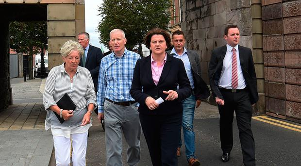 DUP leader Arlene Foster and members of her party during a visit to Derry at the weekend
