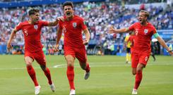 England's Harry Maguire celebrates scoring against Sweden (Owen Humphreys/PA)
