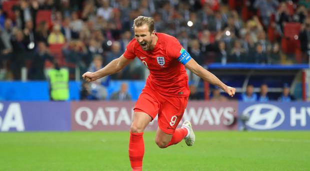 England's Harry Kane celebrates after scoring from the penalty spot against Colombia (Adam Davy/PA)