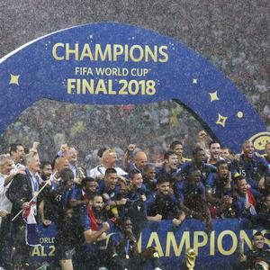 France celebrate their World Cup win (Owen Humphreys/PA)