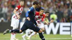 Antoine Griezmann scores from the spot in the World Cup final (Matthias Schrader/AP)