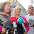 Sinn Fein president Marie Lou McDonald along with Michelle O'Neill and Pat Sheehan speak outside the party's offices on the Falls Road in west Belfast regarding the recent violence on Belfast and Derry. Picture by Jonathan Porter/PressEye.