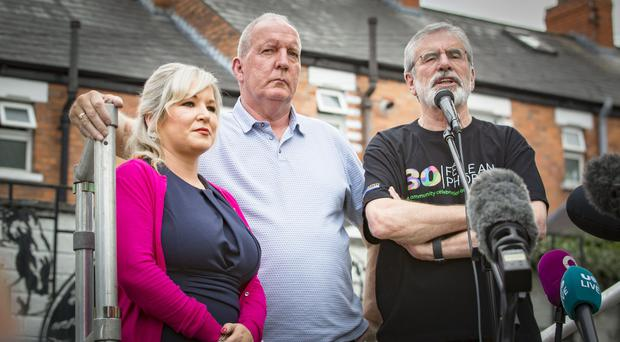 Sinn Fein hold a rally of support at the former Andersonstown barracks for Bobby Storey and Gerry Adams on July 16th 2018 (Photo by Kevin Scott for Belfast Telegraph)