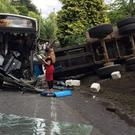 A bus and tractor collided on the road on Monday afternoon. Credit: Robert Charles McCready