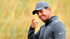 Making a point: Rory McIlroy, without a Major for four years, played with Jon Rahm yesterday, and spoke later of his admiration for Novak Djokovic who won Wimbledon after a barren career spell