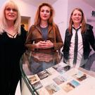 From left: Kurt Cobain's mother Wendy O'Connor, daughter Frances Bean Cobain and sister Kim Cobain at the exhibition
