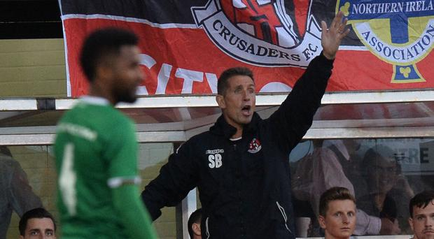 Crusaders manager Stephen Baxter on the touchline at Seaview against Ludogorets. Photo Colm Lenaghan/Pacemaker Press