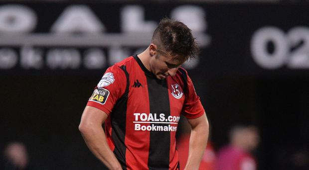 Crusaders Michael Carvill after this evenings game at Seaview in Belfast - Credit: Colm Lenaghan/Pacemaker Press
