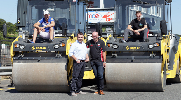 Ready to roll: Peter Hickman (back left) and Dean Harrison (back right) are joined by Clerk of the Course Noel Johnston (front right) and Superbike race sponsor Eugene McManus (MMB Surfacing) with a new style of machinery at the Dundrod circuit