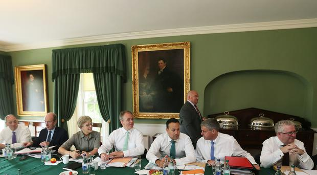 Taoiseach Leo Varadkar (third right) at Derrynane House, Kerry, for a government cabinet meeting (Brian Lawless/PA)