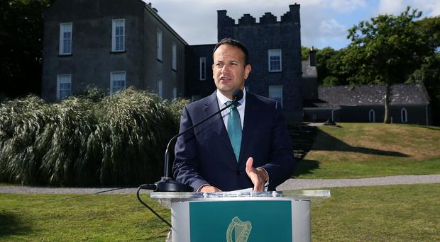 Leo Varadkar at Derrynane House, Co Kerry, following a cabinet meeting (Brian Lawless/PA)