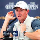 Aiming high: Rory McIlroy outlines his Open ambitions to media at Carnoustie yesterday