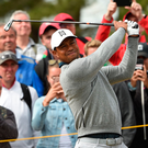 In swing: Tiger Woods during a practice round at Carnoustie
