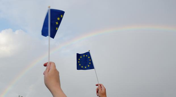Supporters hold up European Union flags (Ben Birchall/PA)