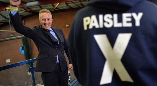 PACEMAKER, BELFAST, 8/5/2015:DUP's Ian Paisley celebrates his victory in the North Antrim constituency count in Ballymena . PICTURE BY STEPHEN DAVISON