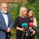 Sinn Fein Northern Ireland leader Michelle O'Neill speaks to media at a press conference in Coalisland, Co Tyrone, ahead of Prime Minister Theresa May's visit.