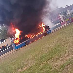 The bus hijacked and set on fire on the Eleventh Night by loyalist thugs