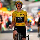 Leading way: Geraint Thomas celebrates his Tour stage win