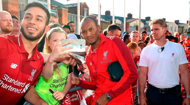 In frame: Fabinho meets Liverpool fans outside Ewood Park
