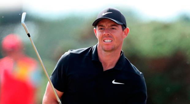 In contention: Rory McIlroy at Carnoustie yesterday