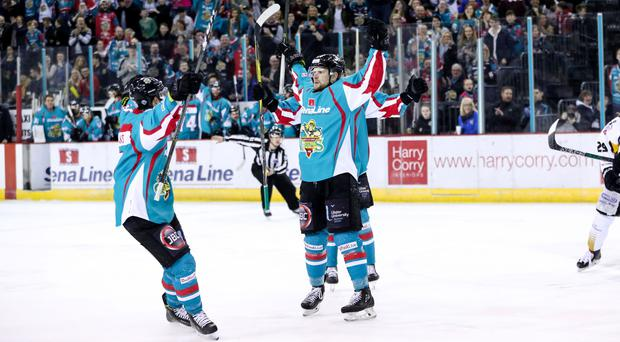 Press Eye - Belfast - Northern Ireland - 30th March 2018 - Photo by William Cherry/Presseye Belfast Giants John Kurtz celebrates scoring against the Nottingham Panthers during Friday nights PredictorBet Playoffs Quarter Final game at the SSE Arena, Belfast.