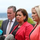 Mary Lou McDonald, Conor Murphy and Michelle O'Neill from Sinn Fein at the Culloden hotel after having a meeting with Prime Minister Theresa May.