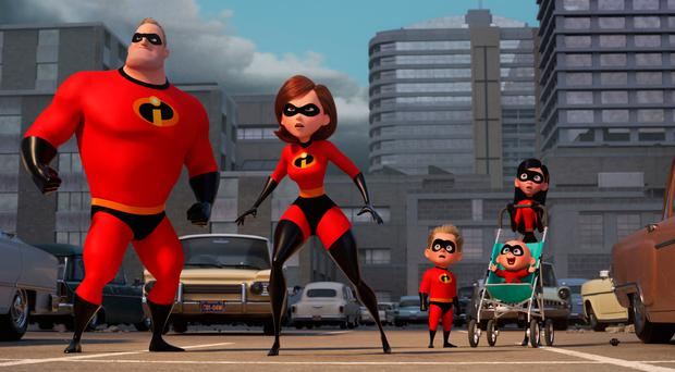 The family of cartoon superheroes in Incredibles 2
