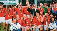 Star quality: Man United's famous Class of '92 after triumphing at the Milk Cup, including Paul Scholes, Gary Neville, Nicky Butt