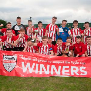 Champions: Derry City's Under-19 side celebrate their Foyle Cup success