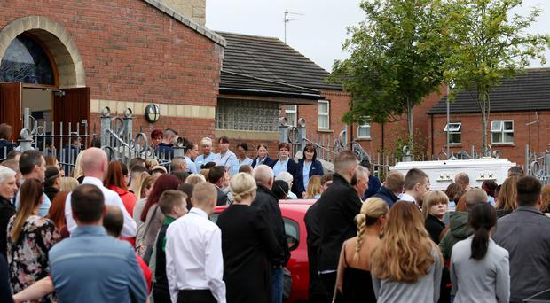 The funeral of Seaneen McCullough, a nurse who fell from a balcony while on holiday in Turkey last week took place withRequiem Mass in Corpus Christi Church, Ballymurphy, West Belfast. Family, friends and colleagues gathered to pay their respects. Pic: Matt Mackey / PressEye.com