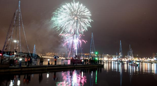 The spectacular fireworks display on the River Foyle lights up the sky over the Clipper Round the World Yacht Race during the Voyages Showcase Finale during the Foyle Maritime Festival. Picture Martin McKeown.ClipperRound The WorldRace. 20.07.18