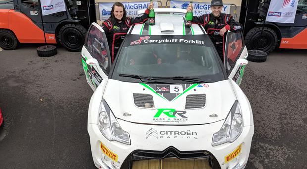 Carryduff Forklift Down Rally winners Jonny Greer and Kirsty Riddick. Image: Jonathan MacDonald