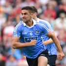 James McCarthy of Dublin celebrates after scoring his side's first goal during the GAA Football All-Ireland Senior Championship Quarter-Final Group 2 Phase 2 match between Tyrone and Dublin at Healy Park in Omagh, Tyrone. Photo by Ray McManus/Sportsfile