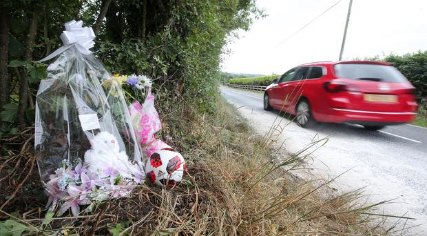The scene on the Aughnacloy Road outside Banbridge, Co. Down, where an eight-year-old boy died following a RTC on Saturday evening. Picture by Jonathan Porter/PressEye