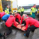 Emergency services giving first aid to the Army cadets in the Mournes