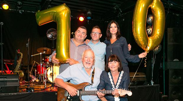 Rab McCullough at his surprise 70th birthday concert with wife Marian, daughter Louise and sons James and Robert jnr