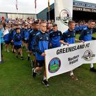 Greenisland FC take to the pitch during the 2018 Super Cup NI opening parade.
