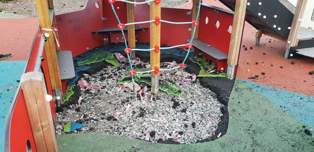 The damage at Avoniel playground. Credit: Charter NI