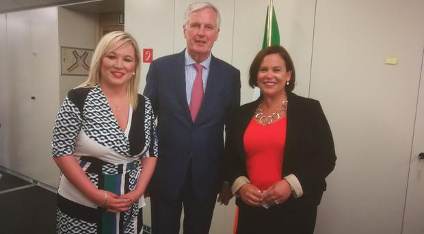 Sinn Fein's Michelle O'Neil and Mary Lou McDonald with Michel Barnier. Credit: Sinn Fein