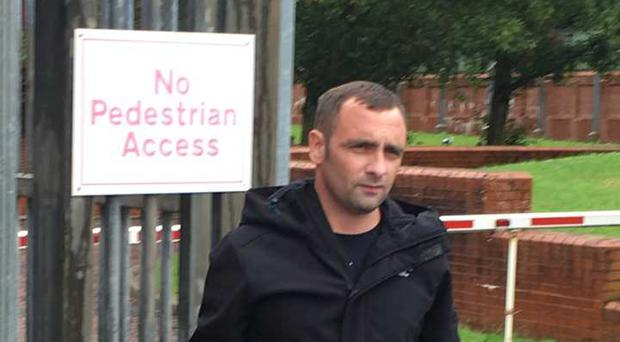 Andrew Meneice leaves Coleraine Magistrates Court. Credit: Nevin Farrell